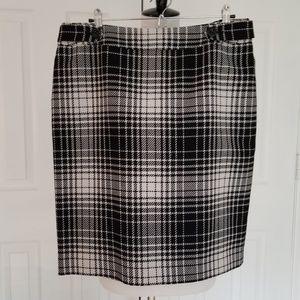 Semantiks Black & White Plaid Pencil Skirt - 14